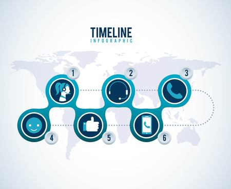 timeline infographic world logistic call center support vector illustration