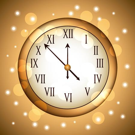 golden clock rounded with glitter sparkle gold vector illustration