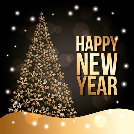 happy new year golden tree pine snow fall poster vector illustration Ilustração