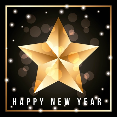 greeting card with shining gold star happy new year vector illustration