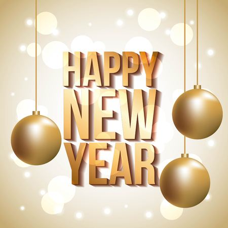 golden lettering happy new year gold balls hanging poster decoration vector illustration Çizim