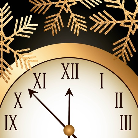 new year gold shining clock snowflake vector illustration