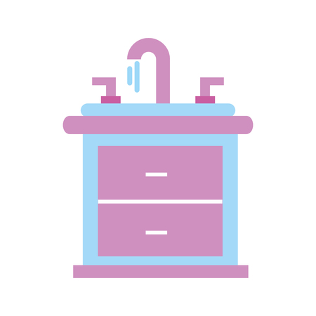 洗面所の洗面器の化粧室の内部の浴室の家具の引出しベクトルイラスト