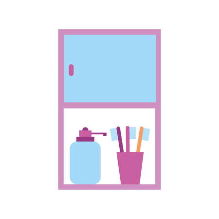 bathroom cabinet with bottle soap and toothbrush accessories vector illustration