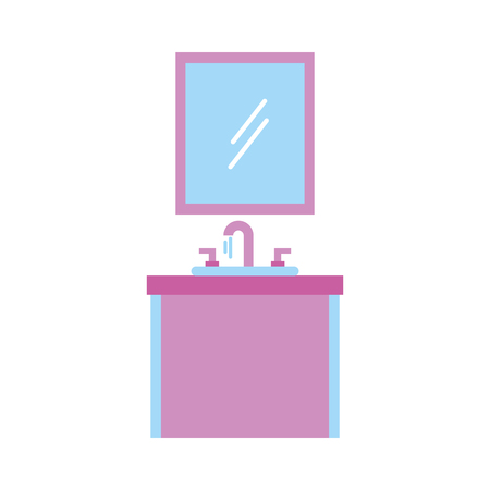 bathroom interior mirror with sink vanity cabinet furniture drawers vector illustration Illustration