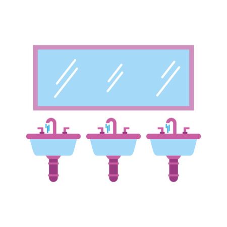 화장실 욕실 장비 벡터 일러스트 레이션을위한 세 가지 싱크대 거울