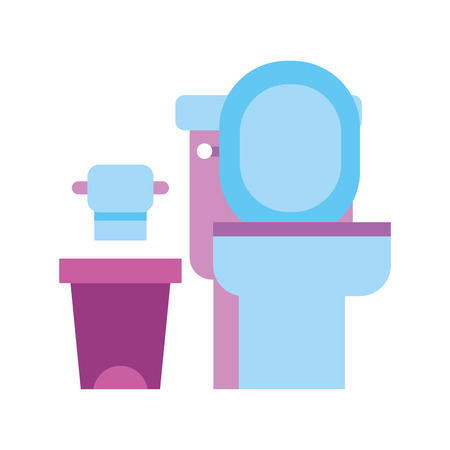 toilet bowl trash can and paper equipment bath cartoon vector illustration Stock fotó - 88188745