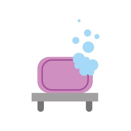 bathroom shelf and bubbles clean tool vector illustration