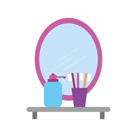 bathroom mirror and shelf with toothbrush soap vector illustration Illustration