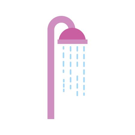 Soffione doccia in bagno con gocce d & # 39 ; acqua che scorre illustrazione vettoriale Archivio Fotografico - 88188826