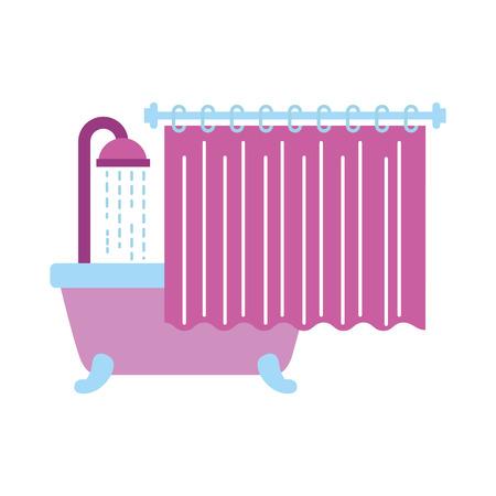 bathroom bathtub shower water curtain interior vector illustration Illustration