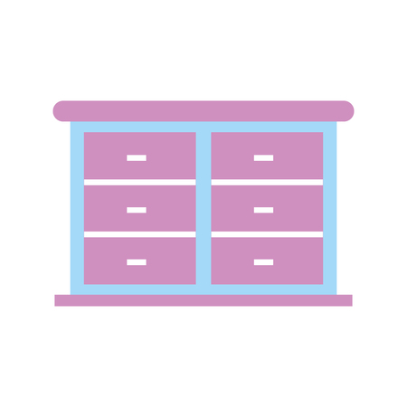 furniture bathroom drawers cabinet wooden vector illustration