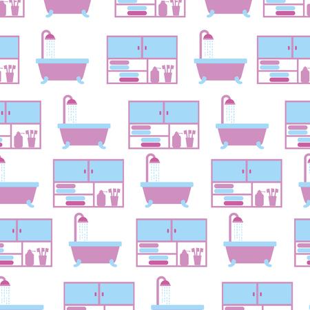 bathroom bathtub shower and furniture seamless pattern design vector illustration 向量圖像