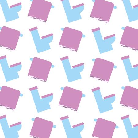 bathroom toilet and towel on rack seamless pattern design vector illustration