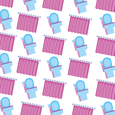 bathroom toilet and curtain clean seamless pattern design vector illustration Stock fotó - 88188837