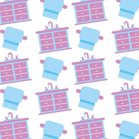 シンク洗面化粧台キャビネット家具引き出しベクトル イラストのバスルームのインテリア