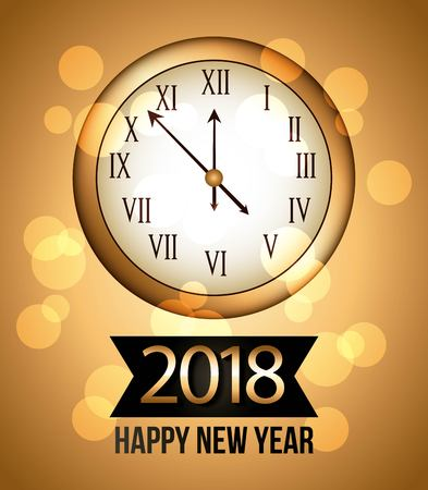 2018 new year gold shining background with clock vector illustration
