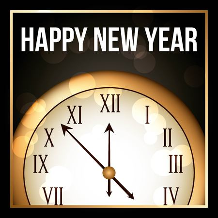 happy new year 2018 gold clock with glowing frame elegant luxury vector illustration