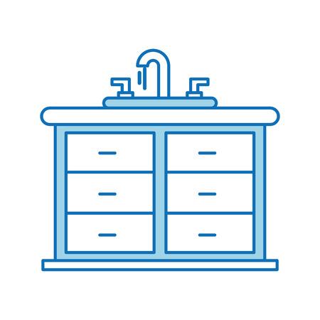 Badkamersbinnenland met het meubilairladen van de gootsteenijdelheid kabinet