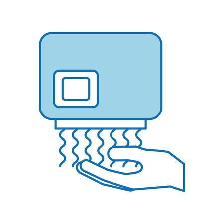Handdroger automatisch schoon apparatuur pictogram Stock Illustratie