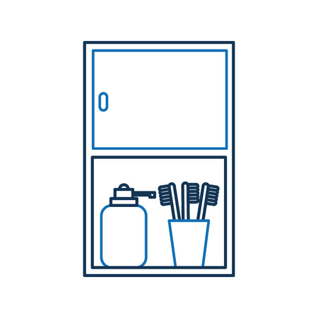 Bathroom cabinet with bottle soap and toothbrush accessories