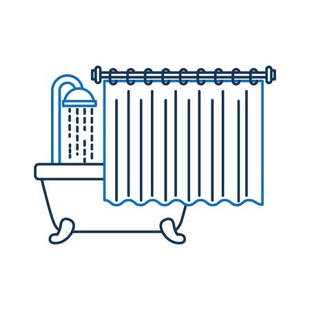 Badkamer bad met douche water gordijn interieur Stock Illustratie