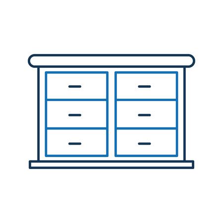 Furniture bathroom drawers cabinet wooden Illustration