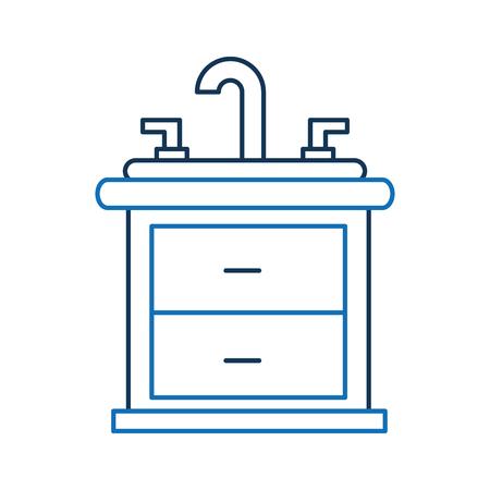 싱크대와 세면대 캐비닛 가구 서랍과 욕실 인테리어 일러스트
