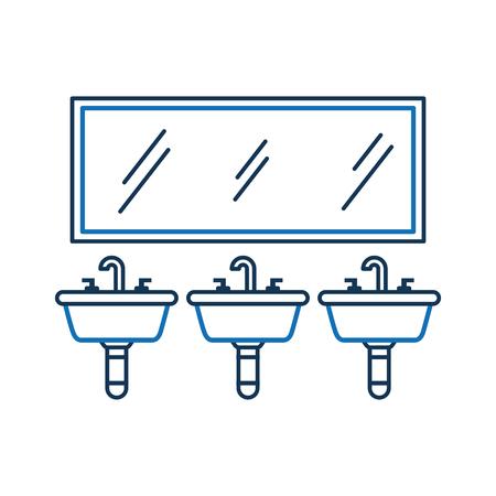 화장실 욕실 장비를위한 3 개의 싱크대 거울 일러스트