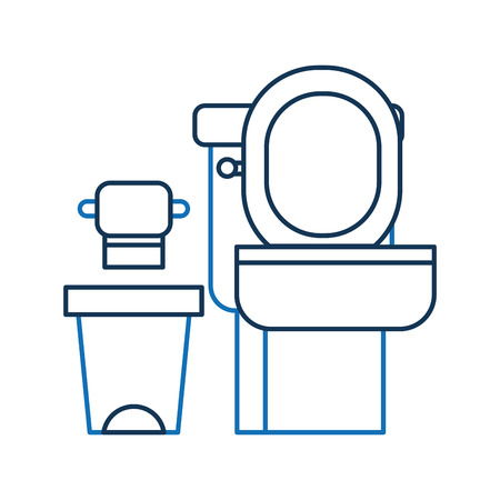 Toilet bowl trash can and paper equipment bath cartoon Illustration