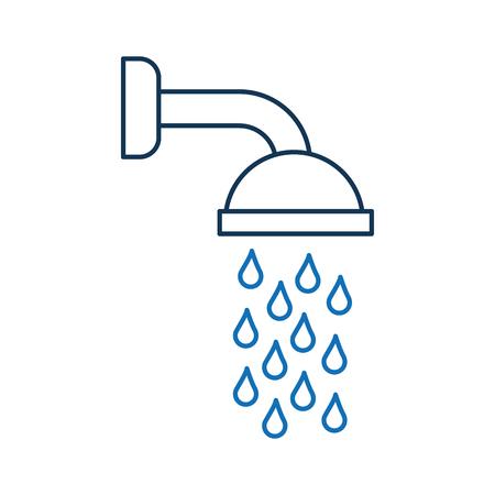 Douchekop in badkamers met waterdalingen het stromen