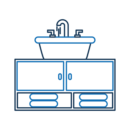 Home sink furniture towels for toilet bathroom Illustration