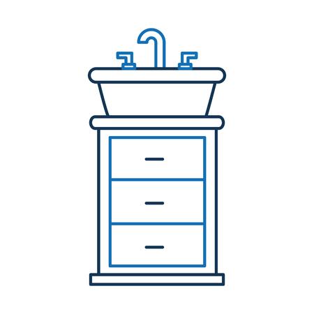 Bathroom interior with sink vanity cabinet furniture drawers vector illustration 向量圖像