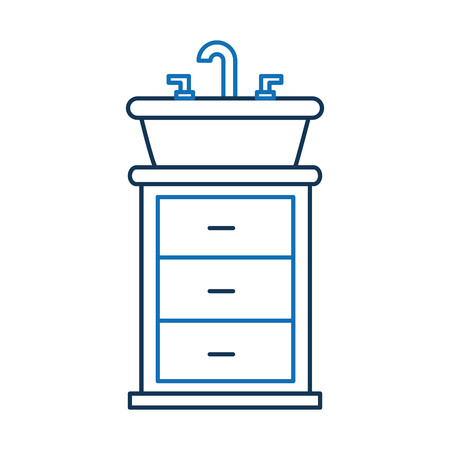Bathroom interior with sink vanity cabinet furniture drawers vector illustration Illustration