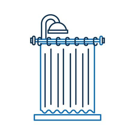 샤워 커튼 깨끗한 인테리어 요소 욕실 벡터 일러스트 레이션을위한