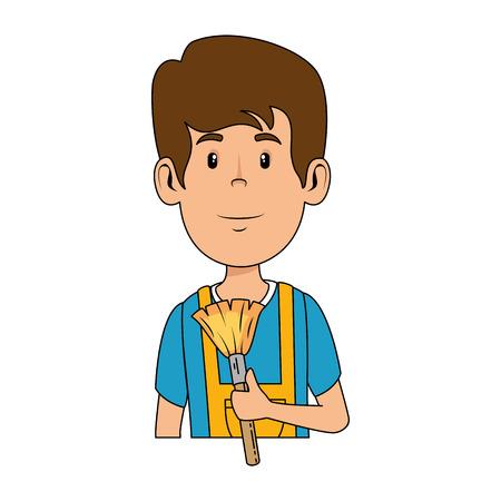 man with powder brush vector illustration design Ilustração