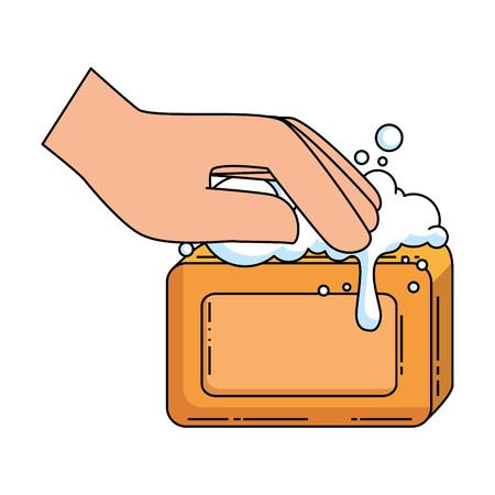 Mano con diseño de ilustración de vector de jabón de barra Foto de archivo - 88183629