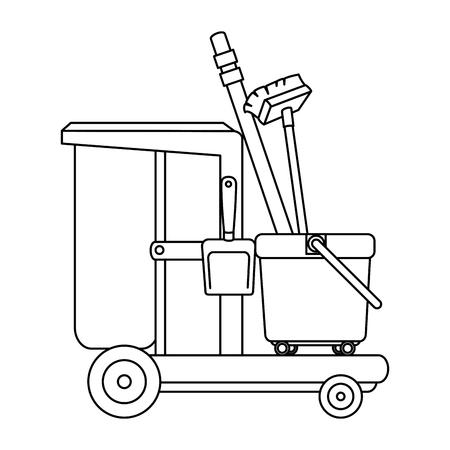 toiletkarretje met bezem en stoffer vectorillustratieontwerp