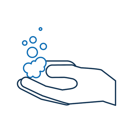 bathroom hand holding soap bubbles hygiene  vector illustration