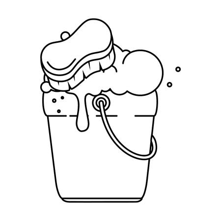 bucket with foam and brush vector illustration design Illustration