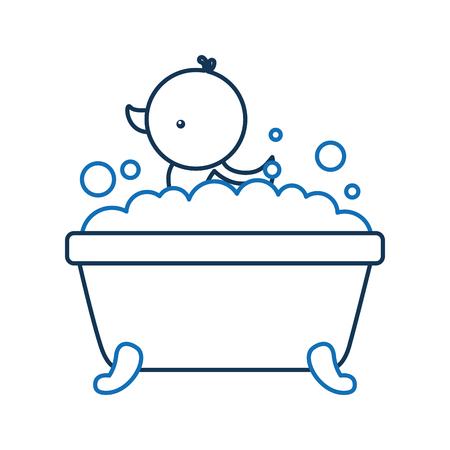 badkuip en eend schone hygiëne interieur keramische pictogram vectorillustratie Stock Illustratie