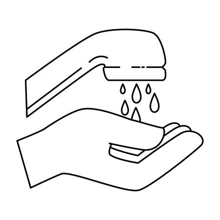 손 세척 격리 된 아이콘 벡터 일러스트 디자인