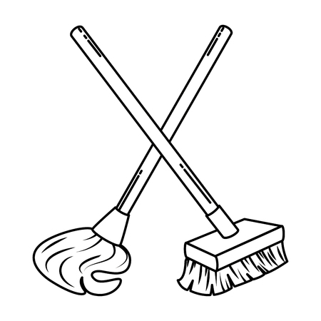 mop en brush icon vector illustratie ontwerp Stock Illustratie