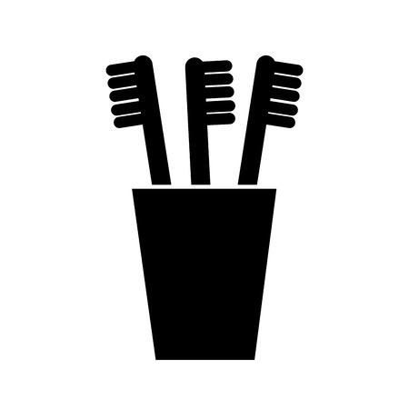 tooth brushes in glass clean bath dent design vector illustration Illustration