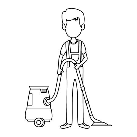 man with vacuum avatar vector illustration design