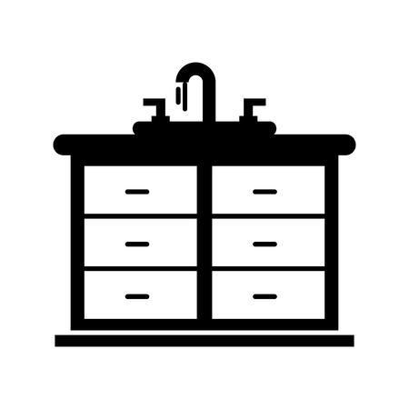 シンクバニティキャビネット家具ベクターイラスト付きバスルーム内部