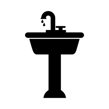 home sink for toilet bathroom ceramic vector illustration Banco de Imagens - 88184935