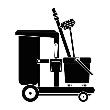 Carrello della toilette con la progettazione dell'illustrazione di vettore della paletta e della scopa Archivio Fotografico - 88185015