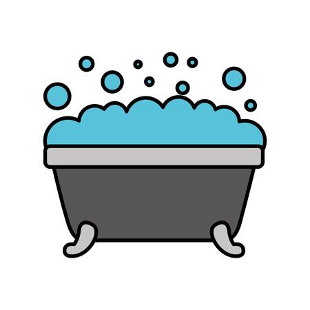 Badewanne Schaum Blasen einfache Hygiene Decke Keramik Symbol Standard-Bild - 88185017