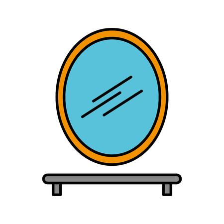 욕실 거울 및 선반 칫 솔 비누 벡터 일러스트와 함께